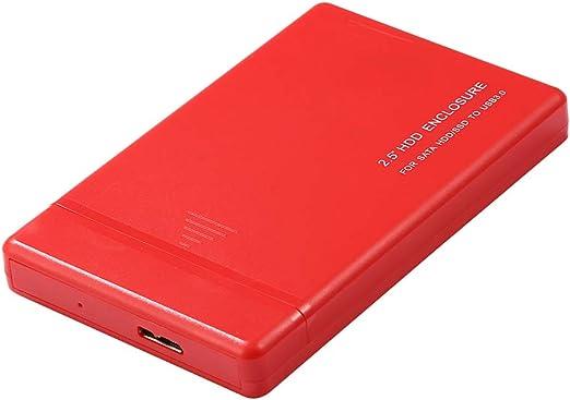 Shiwaki 2.5インチポータブルUSB 3.0 SATA外付けハードドライブHDDケースデスクトップ用プラスチック+ケーブル(赤) - 2TB
