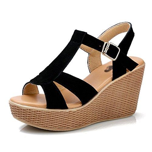 9dff4100 ZCJB Sandalias De La Cuesta Hembra Summer Muffin Cake Zapatos De Plataforma Sandalias  Romanas De Cuero ...