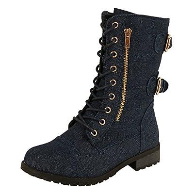West Blvd Guilty Shoes - Combat Military - Lace up Boots (6.5 M, Dkblue Denim)