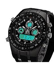 BINZI Military Men Watch LED Digital Watch Luxury Dual Display Sport Watch with Black Sliicone Strap