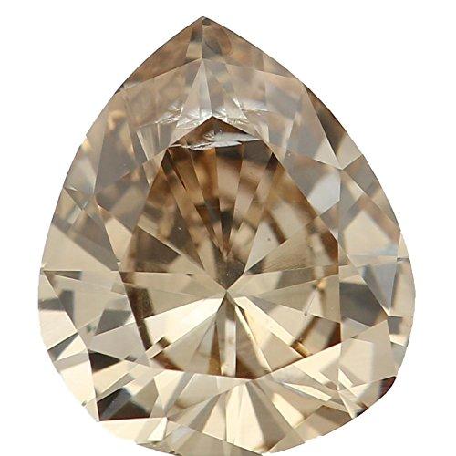0.56 Ct Natural Loose Diamond Cut Pear Shape Brown Color SI3 Clarity L6442