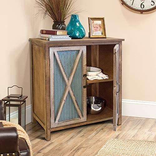 OS Home and Office Furniture Model 75138 Rustic, Weathered, Metal Corrugated Two Three Shelves Pantry, Storage, Door Cabinet, Brown with Antique White Accents