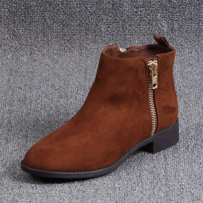 Short F Red Shoes Round With Yards Boots A And Head Singles Women'S Low Big Winter Brown Autumn Female Boots GAOLIM UqCXvv
