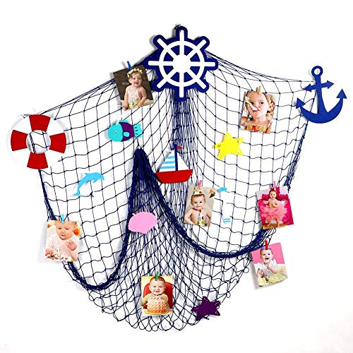 Fishing Net Photo & Picture Frames Photo Painting Hanging Organizer Decorative Nautical Fish Net Wall Photo Hanging Display Frames DIY Mediterranean Style Home Party Bedroom Wall Backdrop Decorations by WElinks