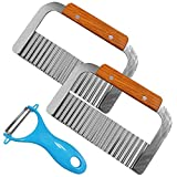DanziX 2 Wavy Crinkle Cutting Tools Vegetable French Fry Slicer Salad Chopping Knife Cutter + 1 Peeling Tool ( Pack of 3 )