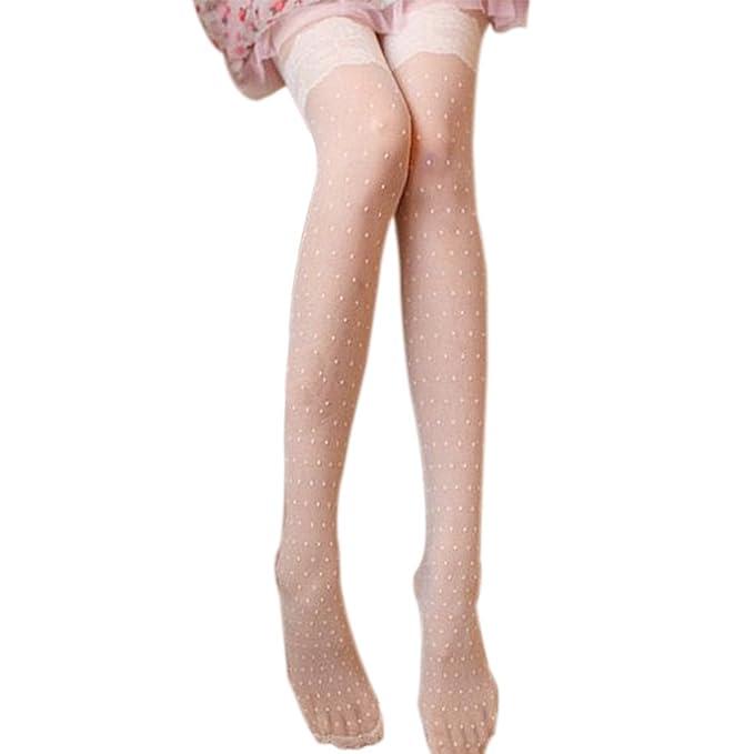 210c55a3566 Sasairy Sexy Women s Polka Dot Holdups Stockings Hosiery Retro Tights UK  SIZE 6-8 White  Amazon.co.uk  Clothing