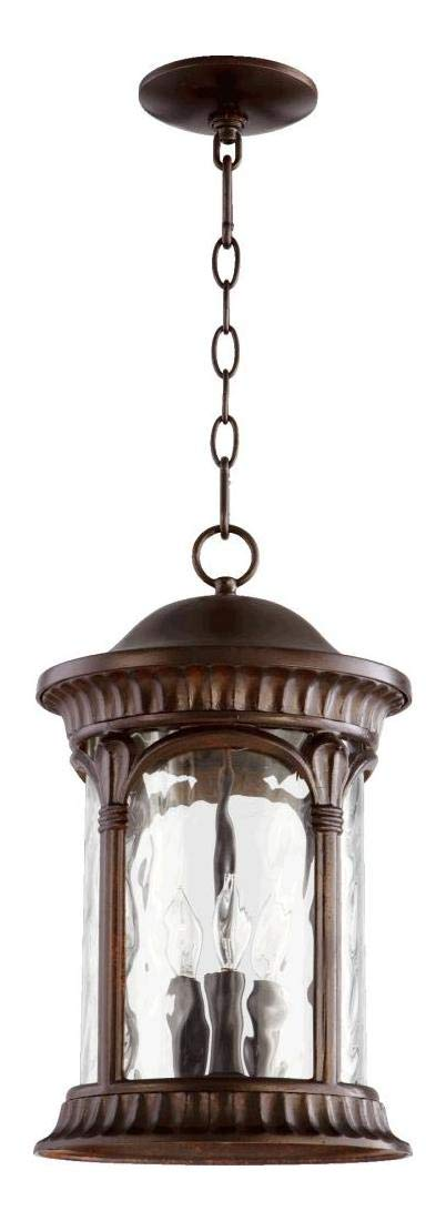 Three Light Clear Hammered Glass Oiled Bronze Oiled Bronze Hanging LAN