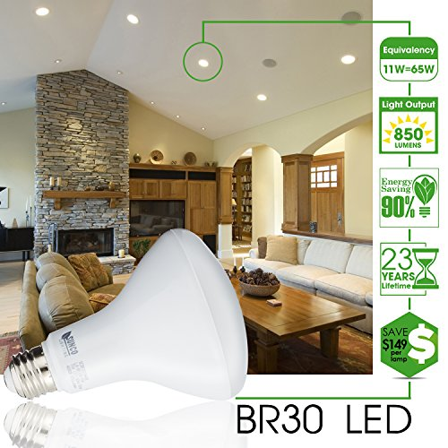 BR30-LED-11WATT-65W-Equivalent-3000K-Warm-White-DIMMABLE-IndoorOutdoor-Lighting-850-Lumens-Flood-Light-Bulb-UL-ENERGY-STAR-LISTED