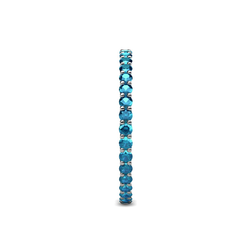 TriJewels London Blue Topaz 2mm Gallery Shared Prong Eternity Band 0.91-1.09 ctw 14K White Gold.size 6.5 by trijewels (Image #5)