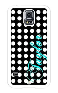 Samsung Galaxy S5 Case Personalized Black and White Polkadots Pattern RUBBER CASE - Fits Samsung Galaxy S5 T-Mobile, Sprint, Verizon and International (Black)