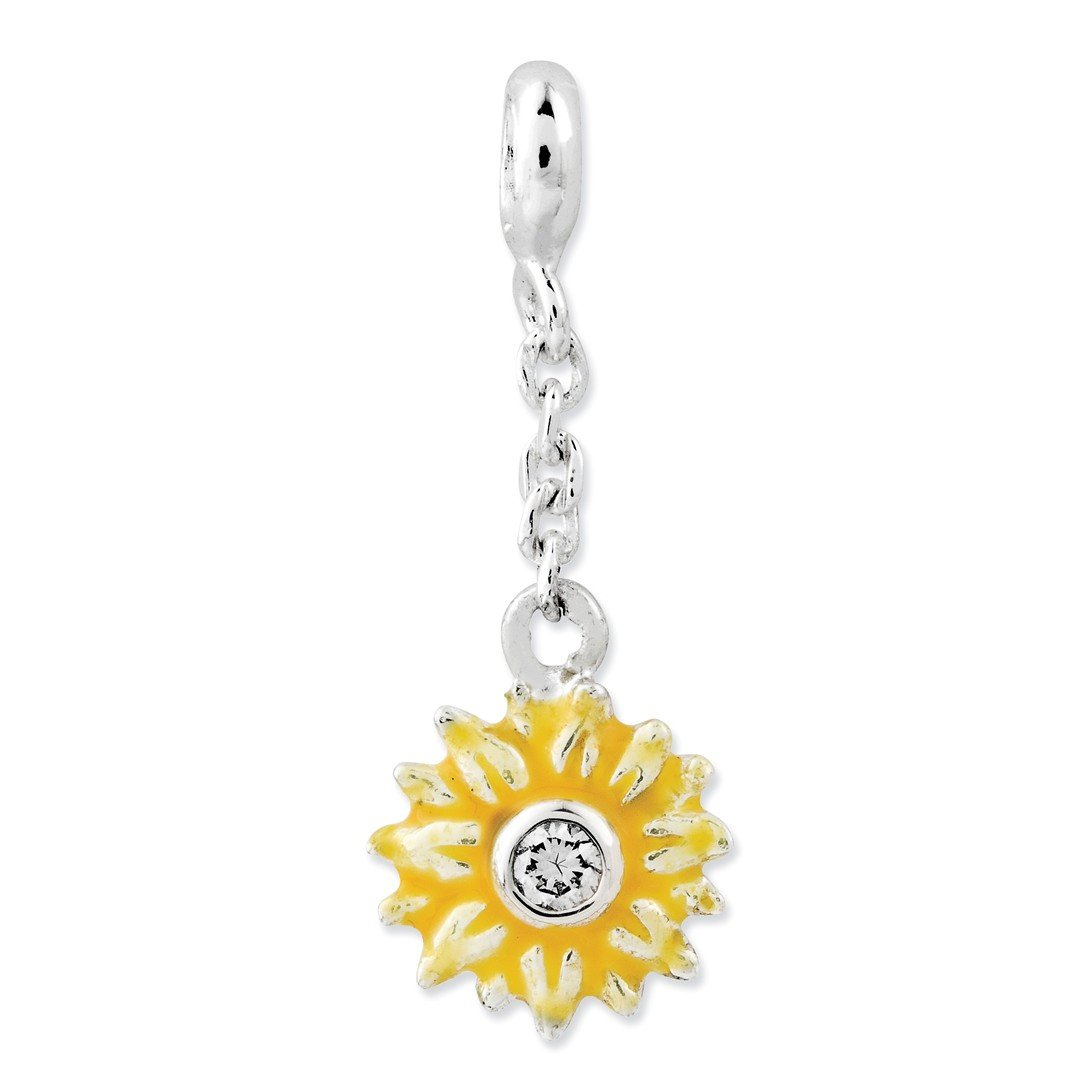 ICE CARATS 925 Sterling Silver Yellow Enameled Flower Cubic Zirconia Cz 1/2in Dangle Enhancer Necklace Pendant Charm Gardening Fine Jewelry Ideal Gifts For Women Gift Set From Heart by ICE CARATS