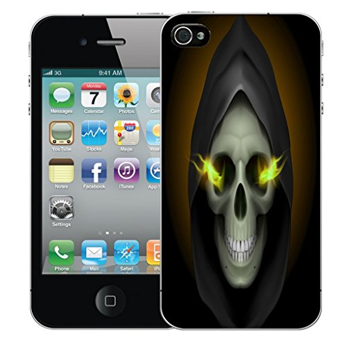 Mobile Case Mate iPhone 5s Silicone Coque couverture case cover Pare-chocs + STYLET - Hooded Skull pattern (SILICON)