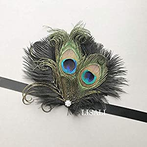 LISALI Peacock Feather Corsage, Mother Bridesmaid 1920s Corsage, Great Gatsby Wedding Wrist Corsage, Crystal Vintage Corsage 109