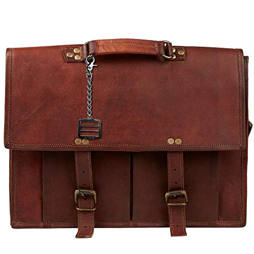 FairShare 172711 Men's Satchel Leather Messenger Bag with Metal Charm Suvelle Keychain