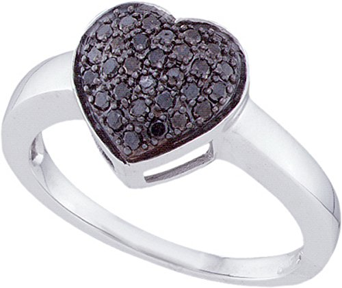 10kt White Gold Womens Round Black Colored Diamond Heart Cluster Ring 1/4 Cttw by JawaFashion