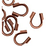 Beadaholique Genuine Antiqued Copper Wire & Thread Protectors .019 Inch Loops (50)
