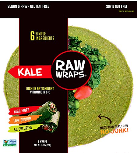 (Raw Wraps Kale- Gluten & Soy Free, Vegan & Raw)