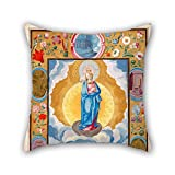 loveloveu throw cushion covers of oil painting Gómez, Diego - Immacule Conception in Enforceable Charter of chivalry of Arias Pardo de Cela,for drawing room,festival,dining room,home,bf,chair 18 x