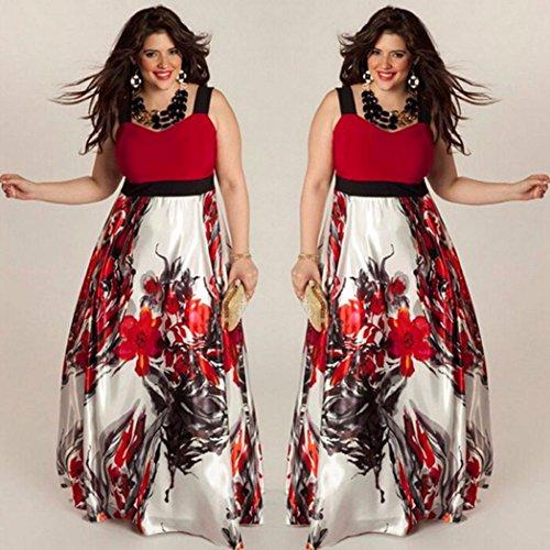 Abendkleid Huhu833 Frauen Plus Size Floral bedruckte lange Abend ...