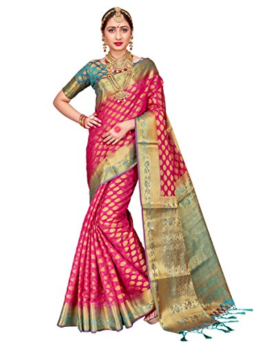 ELINA FASHION Sarees for Women Banarasi Art Silk Woven Work Saree l Indian Wedding Ethnic Wear Sari & Blouse Piece (Pink 1)