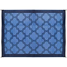 Camco Large Reversible Outdoor Patio Mat - Mold and Mildew Resistant, Easy to Clean, Perfect for Picnics, Cookouts, Camping, and The Beach (9' x 12', Lattice Blue Design) (42856)
