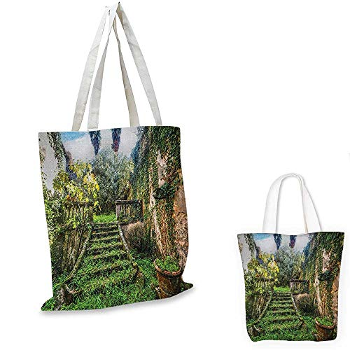 (Nature royal shopping bag Ancient Fairytale Theme Hidden Garden with Botanic Trees Flowers Ivy Image Print funny reusable shopping bag Multicolor. 16