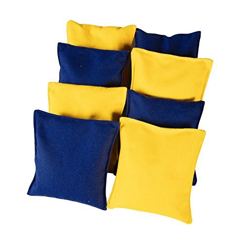 Sports Festival Newest Version Premium All-Weather Duck Cloth Cornhole Replacement Bean Bag Set Total Count (Yellow & Navy Blue)