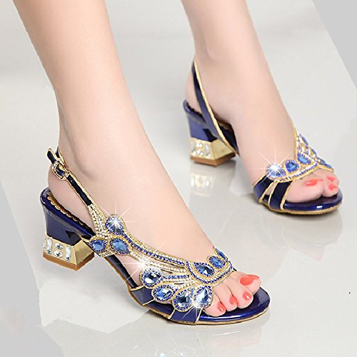 Wear Match KHSKX Rhinestone Diamond All 5Cm With Shoes 6 Sandals Comfortable Heeled Violet As Thick High 4B4EqwHx7