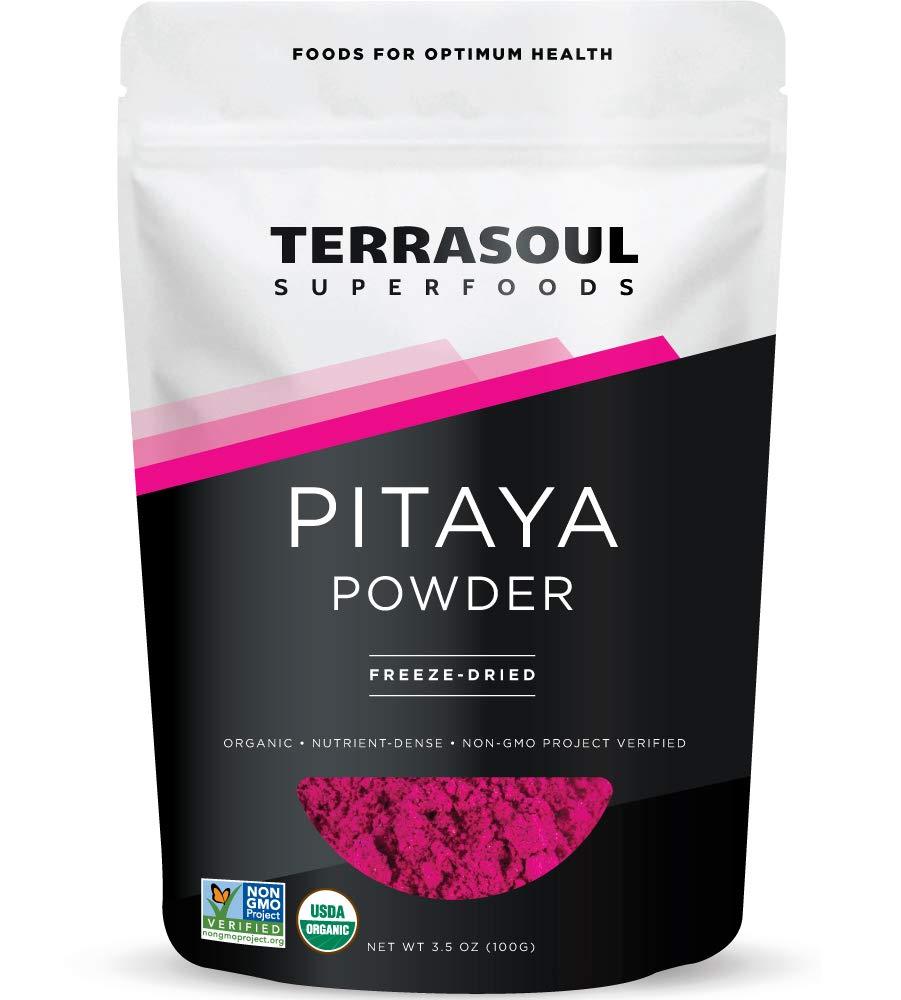 Terrasoul Superfoods Organic Freeze-Dried Pitaya Powder (Dragon Fruit), 3.5 Oz - Vibrant Color | Antioxidants | Vitamin C