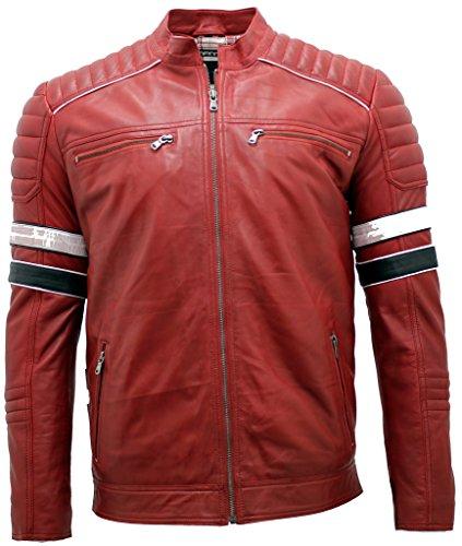 Herren-Rennen Red Bikerjacke aus Leder