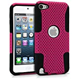 iPod Touch 5 Case, MagicMobile® Hybrid Impact Shockproof Hard Durable Armor Mesh Cover and Soft Silicone Skin Layer [ Pink - Black ] Case With Screen Protector for iPod 5th Generation / Film and Pen Stylus