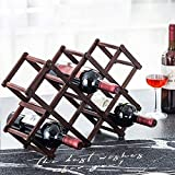 Wood Wine Rack 10-Bottle Holder Foldable Free Standing Home Kitchen Cabinet Wooden Racks Stand Storage Rustic Countertop Decor Organizer