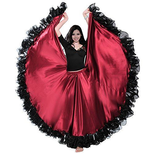 Backgarden Gorgeous Belly Dance 25 Yard Silk-Like Skirt Tribal Flamenco Long Circles Dress (Dark Red) - Flamenco Dance Skirt