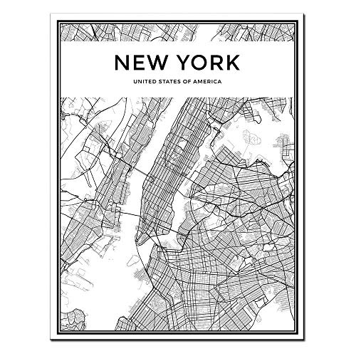 - DINGDONGART Framed Canvas Wall Art New York Linear City Map Painting Nordic Minimalist Style Poster Aerial View Artwork Picture for Living Room Decor 1 Pcs