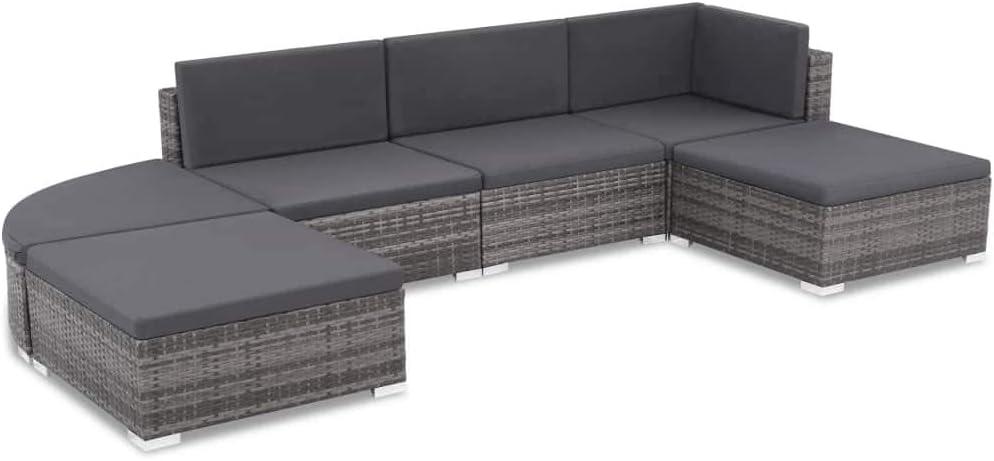 Namotu vidaXL 6-TLG. Garten-Lounge-Set mit Auflagen Poly Rattan Grau