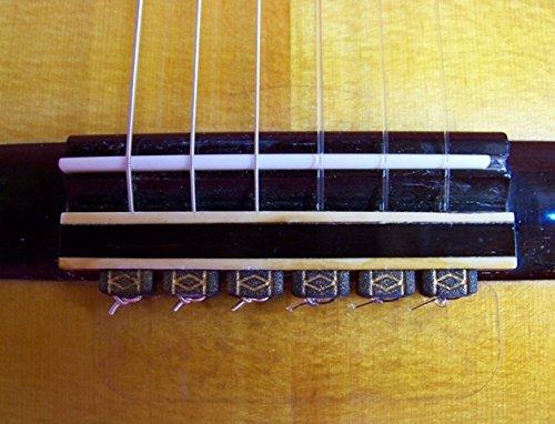 (Rosette Diamond Secure Classical Guitar String Ties/New Gold Inlay/Black Bridge Beads)