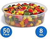 : [50pk] Plastic Food Storage Containers with lids – Foodsavers Deli Cups / Foodsavers for Portion Control & Miscellaneous - Commercial Duty, Watertight & Leakproof (8oz, 50pcs)