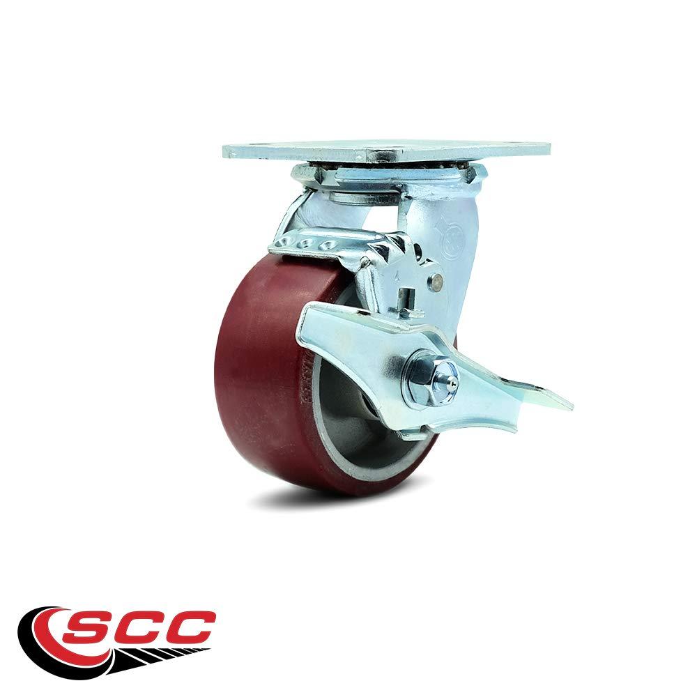 Service Caster - 4'' x 2'' Polyurethane on Aluminum Wheel Swivel Caster w/Brake - 700lbs/Caster