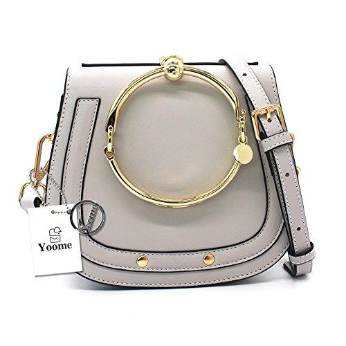 Yoome Women Punk Circular Ring Handle Handbags Small Round Purse Crossbody Bags For Girls - (Chole Bag)