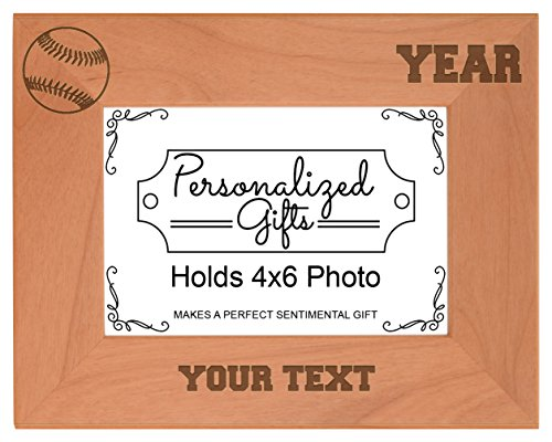 Custom Baseball Coach Gifts Add Text Year Personalized Natural Wood Engraved 4x6 Landscape Picture Frame