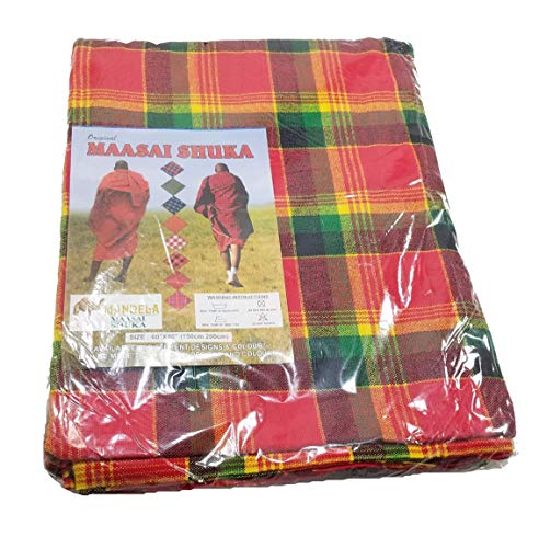 (Red, Green, Yellow, Black Maasai Masai Shuka Shawl Scarf Tablecloth Beach Wrap Cover Up)