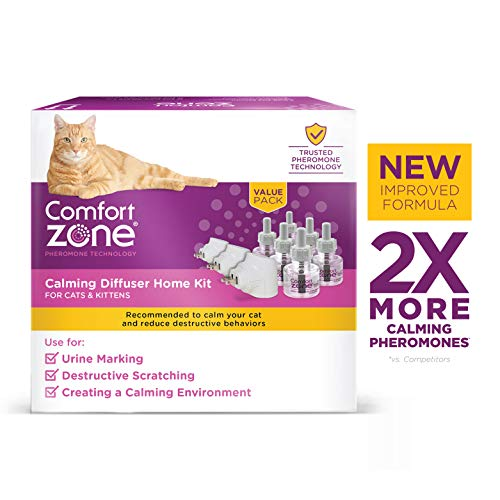 Comfort Zone Calming Diffuser Kit, New 2X Pheromones for Cats Formula, 3 Diffusers and 6 Refills