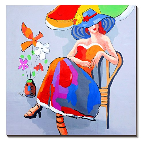 Modern Painted Art Hand - cubism Beauty Lady Oil Paintings 30x30inch Large Artwork 100% Hand-painted on Canvas Colorful Sexy Modern Wall Art for girl's Bedroom (Stretched / Ready to Hang)