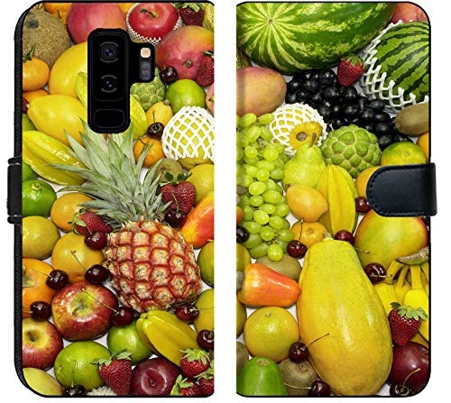 - Samsung Galaxy S9 Plus Flip Fabric Wallet Case Image of Fruit Food Orange Grape Fresh Healthy Vitamin Pineapple Diet Nutrition Citrus Group heap Background trop