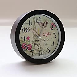 NXDA Eiffel Tower Silent Sweep Modern Graceful Bell Desk Creative Digital Alarm Clock (Black)