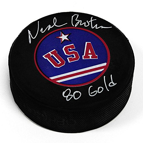 Gold Autographed Puck (Neal Broten Autographed Puck - Team USA 80 Gold - Autographed NHL Pucks)