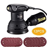 Random Orbit Sander, TECCPO 5-inch 2.4Amp/12,500 OPM Orbit Sander with 12 Pcs Sandpapers, Recyclable Cotton Dust Bag, Dust Collection System for Tight Spaces Sanding in Home Decoration - TARS23P