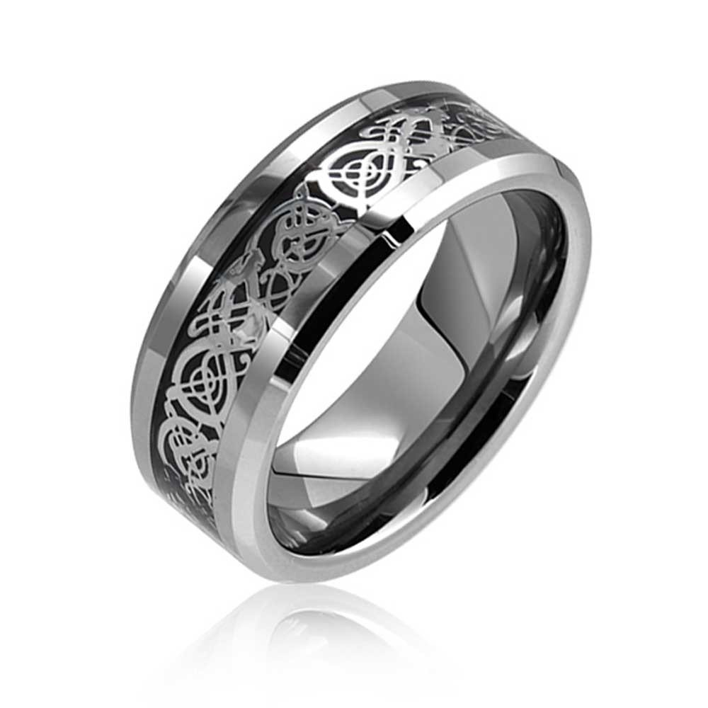 8mm Tungsten Carbide Celtic Knot Dragon over Black Carbon Fiber Inlay Wedding Band Ring For Men Or Ladies