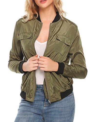 Zeagoo Women's Classic Multi-Pocket Zip Short Bomber Jacket Coat