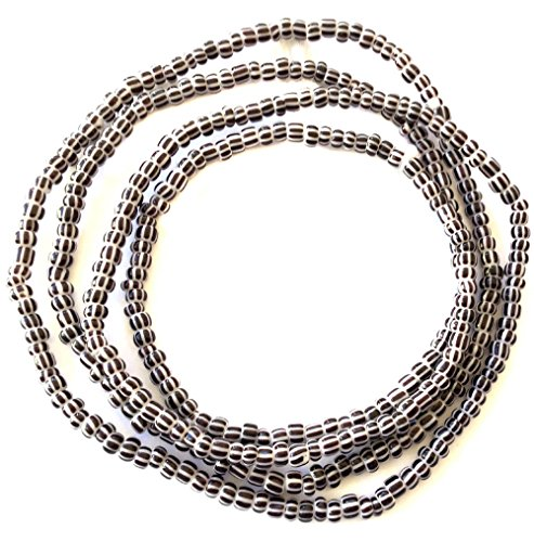 - VIntage Ghana Cocoa & white stripes waist seed Beads Glass African Trade Beads - Strand of Fair Trade Beads from Ghana